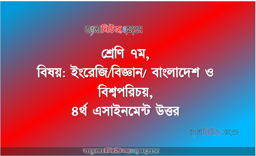 Class 7, Subject: English / Science / Bangladesh and World Identity, 4th Assignment Answer