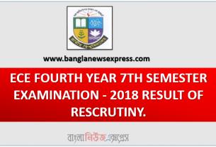 ECE FOURTH YEAR 7TH SEMESTER EXAMINATION - 2018 RESULT OF RESCRUTINY.