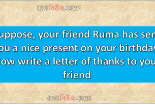 Suppose, your friend Ruma has sent you a nice present on your birthday. Now write a letter of thanks to your friend