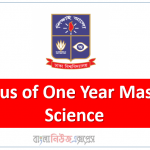 Syllabus of One Year Master of Science