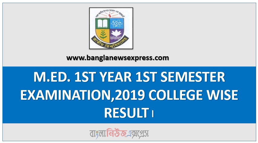 M.ED. 1ST YEAR 1ST SEMESTER EXAMINATION,2019 COLLEGE WISE RESULT।