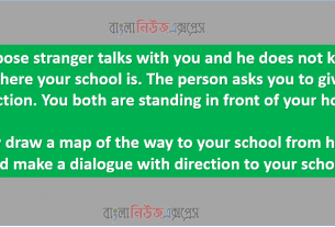 Suppose stranger talks with you and he does not know where your school is. The person asks you to give direction. You both are standing in front of your home