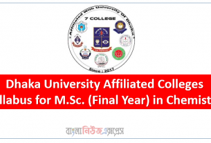 Dhaka University Affiliated Colleges, Syllabus for M.Sc. (Final Year) in Chemistry