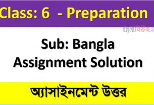 Class 6 Sub: Bangla Assignment Solution, 1st Week Assignment Answer 2021
