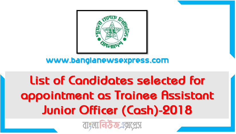 List of Candidates selected for appointment as Trainee Assistant Junior Officer (Cash)-2018