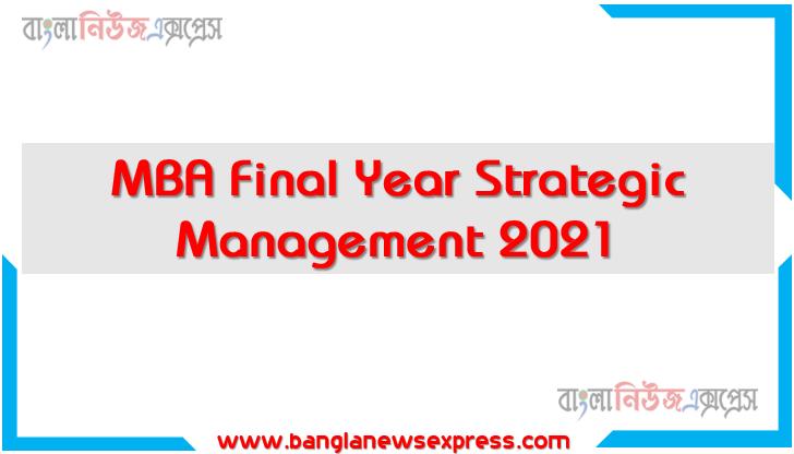 MBA Final Year Strategic Management 2021