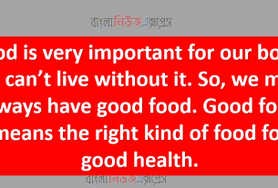 Food is very important for our body. We can't live without it. So, we must always have good food. Good food means the right kind of food for good health.