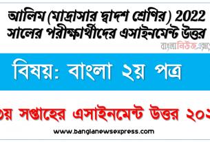 alim class 12 bangla 2nd paper assignment answer 3rd week 2021, আলিম বিষয়:বাংলা ২য় পত্র ৩য় সপ্তাহের এ্যাসাইনমেন্ট পরীক্ষার্থীদের ২০২২
