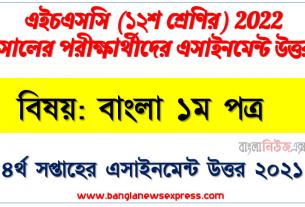 hsc class 12 bangla 1st paper assignment answer 4th week 2021, এইচএসসি ২০২২ পরীক্ষার্থীদের ৪র্থ সপ্তাহের এ্যাসাইনমেন্ট বাংলা ১ম পত্র উত্তর