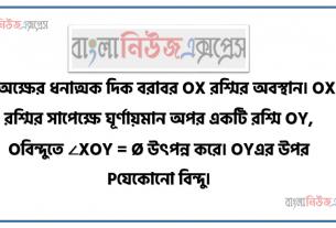 X অক্ষের ধনাত্মক দিক বরাবর OX রশ্মির অবস্থান। OX রশ্মির সাপেক্ষে ঘূর্ণায়মান অপর একটি রশ্মি OY, Oবিন্দুতে ∠XOY = Ø উৎপন্ন করে। OYএর উপর Pযেকোনাে বিন্দু।